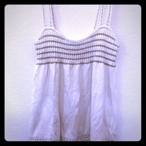 Cream and gold knit tank top